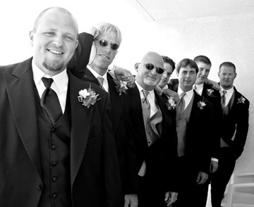 Groom and Groomsmen - artistic black and white photos Wedding Day - Virginia Beach Wedding